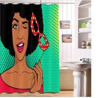 Makeup African American Afro Black Woman Shower Curtain Liner