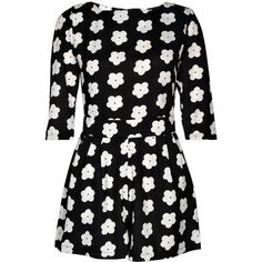Boohoo Summer Monochrome Daisy Print Playsuit ($45) ❤ liked on Polyvore featuring jumpsuits, rompers, dresses, playsuits, jumpsuit, vestidos, jump suit, summer romper, summer rompers and playsuit jumpsuit