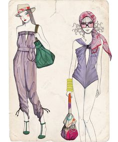 Fashion illustrations by izumi idoia zubia, via Behance