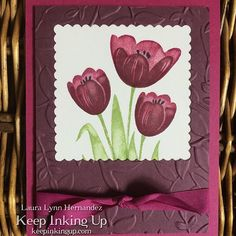 #tranquiltulips #hostset from the new catalog, my favorite set from this catalog  Isn't it gorgeous!?! You can get this set only if you host a workshop or place a qualifying order. #keepinkingup #sudemonstrator #freshfig #berryburst #layeredleavesdynamictief #layeringsquaresframelitsdies