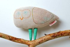 Owl. Designer hand-embroidered toy, Stuffed animal, Animal Toy, Stuffed Owl, children