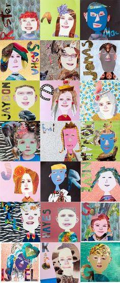 auto portrait avec dessins, collage et éléments du visage collés