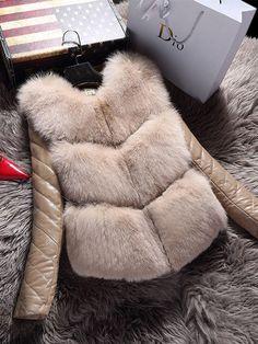 Fashion Faux Fur PU Leather Patchwork Long Sleeve Women Jackets