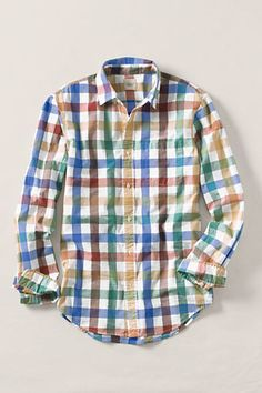 This shirt has lots of color (in a great pattern), but it is still subdued enough that I might try to wear it with a brightly-colored pair of pants or shorts.  It's good to have some clothes that are neither plain nor so loud that everything else has to be bland.  Lands' End Canvas Men's Multi-Check Poplin Shirt #landsendcanvas