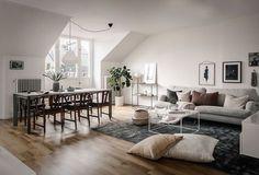 Scandinavian attic living room