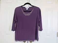 Sag Harbor Women's Tunic Top Faux Layers 3/4 Sleeves Spandex Purple 2X 2XL  #SagHarbor #Tunic #Career