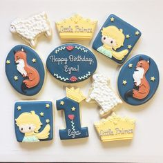 little prince cookies Little Prince Party, The Little Prince, Prince Birthday Party, First Birthday Parties, Prince Cake, Festa Party, Baby Shower Cookies, Cute Cookies, Royal Icing Cookies