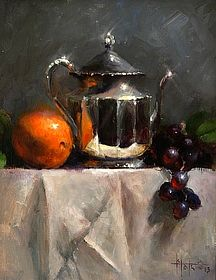 Silver with Orange and Grapes by Kathy Tate - Oil by Salon International 2013
