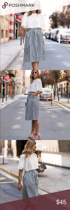 dc32a0b608 NWT Zara Striped Skirt Blue and White This is a amazing and beautiful Zara  Skirt,