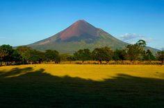 Central America Momotombo Volcano at Sunset.