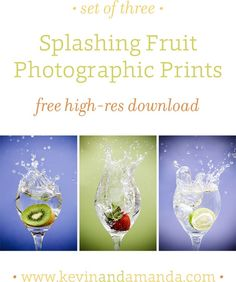Set of Three Splashing Fruit Photographic Prints for the Kitchen Free High-Res Download