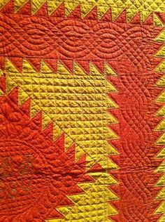 antique amish quilt close quilting...love the Cheddar! I love the woven border on this quilt !