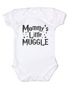 "Baffle ""Mommy's Little Muggle"" Potter Baby Onesie - Black Text (24 mo). Great Gift Idea for any Harry Potter Fans. 100% Cotton Onesie, Tagless for Comfort. Great Customer Service and Fast Shipping. Triple Snap Closure, Nickel Free. Harry Potter Themed Design, Black Text."