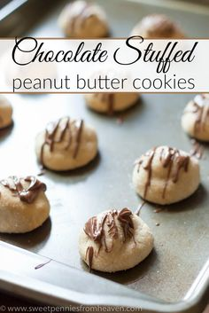Chocolate Stuffed Peanut Butter Cookies Recipe. This peanut butter cookie recipe is SO easy. It's chewy on the outside and gooey on the inside, filled with chocolate-y goodness!