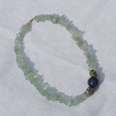 Necklace in Sterling Silver Vermeil with Frosted Green Fluorite, Lapis & Pyrite £42.75