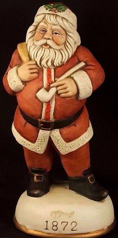 Flambro bisque porcelain Santa Pipe music box 1872 Santa Claus Vintage Memories