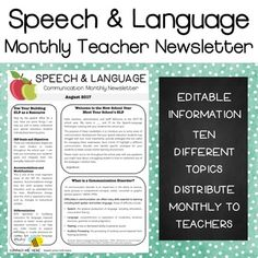 These are editable powerpoint files (. Newsletters written by an SLP for classroom teachers. They are designed to be distributed monthly to a school staff as informational content to raise awareness for communication disorders and increase presence o Notes To Parents, Parents As Teachers, Speech Language Pathology, Speech And Language, Phonics Flashcards, Speech Room, Classroom Language, Speech Therapy Activities, Teacher Newsletter