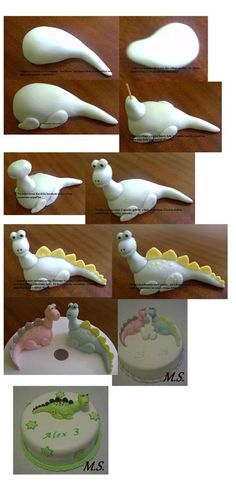 Tutorial: Dinosaur (Polymer Clay - Fimo - Cernit) www.facebook.com/... www.etsy.com/...