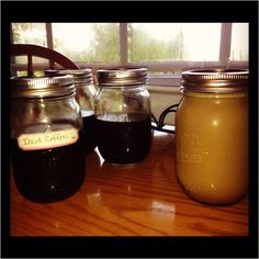 Iced Coffee... Just cold brew coffee (I did 1cup grounds in 5 cups water) overnight, filter through a gold filter or cheese cloth into mason jars. When you're ready to enjoy just add in some ice and pick ur poison, i.e... milk, creamer, condensed milk, chocolate or kahlua. Shake up and enjoy! Sipping mine straight from the jar! :) Cheese Cloth, Condensed Milk, Cold Brew, Iced Coffee, Shake, Brewing, Filter, Mason Jars, Cups