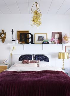 Yellow Ceiling Lights And White Bed Sheet Plus Glass Floating Shelf In White Bedroom Wall Design