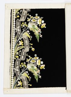 Black velvet embroidered in border design with flower sprays and narrow bobbin lace applied. Silk Ribbon Embroidery, Embroidery Art, Embroidery Designs, Fabric Paint Designs, String Crafts, Crochet Wool, Embroidered Towels, Machine Embroidery Patterns, Bobbin Lace