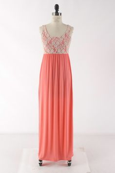 pretty coral maxi dress with lacy top