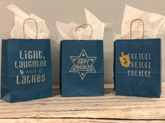 Hanukkah Decorations-Hanukkah Bags-Hanukkah-Hanukkah Gift Bags-Blue Bags-Gift Bags-Holiday Bags-Menorah Bags-Gift Wrapping-Paper Bags-Party