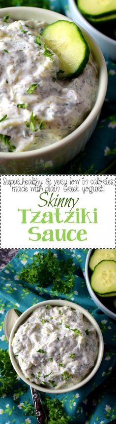 Tzatziki Sauce - Dips and spreads are generally considered indulgent and calorie-heavy, but this Skinny Tzatziki Sauce is out to prove otherwise! Super flavourful and made mostly with pantry ingredients; get ready to dip, spread, and scoop without guilt! Best Dinner Recipes, Top Recipes, Great Recipes, Favorite Recipes, Healthy Recipes, Simple Recipes, Amazing Recipes, Healthy Eats, Delicious Recipes