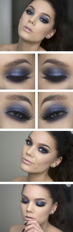 #makeup #howto #tutorial #beauty #smokey #blue #eyes #party #look #stepbystep