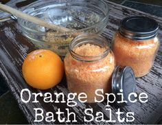 Recipe Orange Spice Bath Salts made with orange and cinnamon essential oils- love the oil of coloring the bath salts with mica powder!
