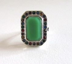 Sterling Silver Green Glass and Multi Colored Stone Ring