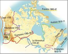 Exploration routes of some of Canada's noted explorers.