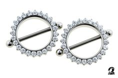 ODYSSEY Titanium Prong-set Faceted Gem Nipple Shields