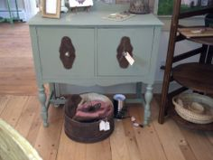 Small buffet/server/bar painted in Basil by General Finishes  #vintage #paintedfurniture #generalfinishes