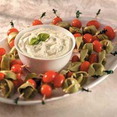 Tortellini Appetizers: Tortellini with pesto sauce dip.