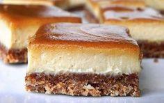 SCD Cinnamon Swirl Caramel Cheesecake Bars (*Substitute honey for maple syrup / coconut nectar & use SCD yogurt. Greek Sweets, Greek Desserts, Köstliche Desserts, Sweets Recipes, Raw Food Recipes, Food Network Recipes, Delicious Desserts, Caramel Cheesecake, Cheesecake Bars