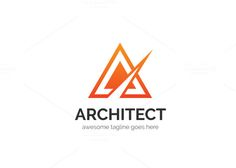 Architect Letter A Logo by XpertgraphicD on Creative Market Logo Design Template, Logo Templates, Logo Design Inspiration, Design Ideas, Letter Form, Personal Identity, 26 Letters, Font Names, Modern Logo