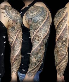 This tattoo is truly a piece of #art and would #suit a variety of men out there. #Shapes are used to create a #magnificent #piece of #inking that #starts off at the #shoulder, #spreading down the #bicep and the rest of the arm.
