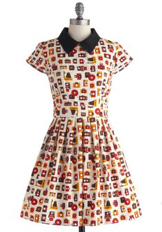 Poise and Click Dress. Feeling artsy and looking cool is easy for you in this adorable, camera-printed dress! #multi #modcloth