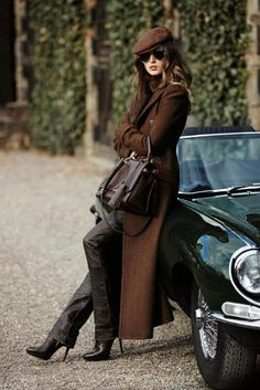 Winter, woman leaning against classic car, long coat & leather pants- Inside my Wardrobe: Going Home For Chirstmas