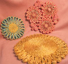 Your place to buy and sell all things handmade Hot Pads, Etsy Vintage, Pot Holders, Third, Plates, Turquoise, Yellow, Brown, Unique
