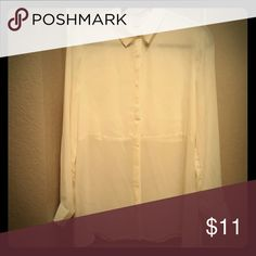 Forever 21 sheer ivory button up blouse Chiffon, hidden buttons, center seam Forever 21 Tops Button Down Shirts