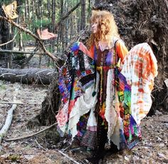Magical Reconstructed Upcycled Gypsy Fairy Elf Dress Fairy Tale Coat Pixie Patchwork Made to order