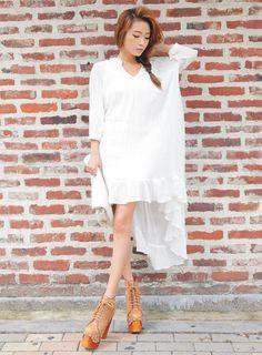 Frilled High Low Dress  #WomensFashion #KoreanFashion