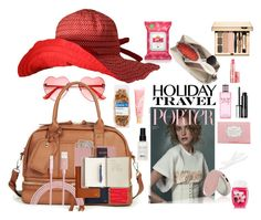 """""""Holiday Travel Bag"""" by beleev ❤ liked on Polyvore featuring Yes To, Sole Society, Anya Hindmarch, Lano, Benefit, Royce Leather, Forever 21, Clinique, Balmain and Japonesque"""