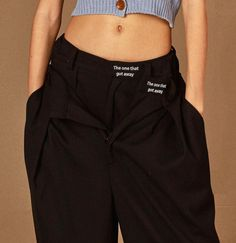 Black wide slacks 'The one that got away' Fashion Details, Fashion Design, Wide Pants, Textiles, Summer Dress Outfits, Celebrity Outfits, Fashion Branding, Types Of Fashion Styles, Pattern Fashion