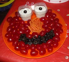 Sesame Street bday party for my 2yr old. Elmo veggie tray.