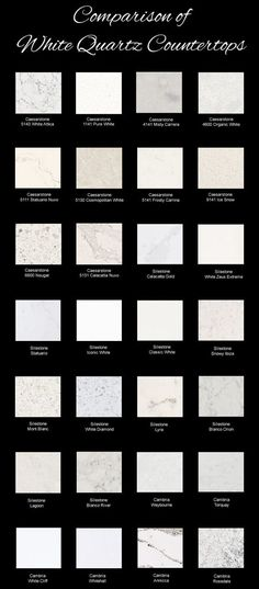 Comparison of White Quartz Countertops from Different Manufacturers - Silestone, Caesarstone, Cambria