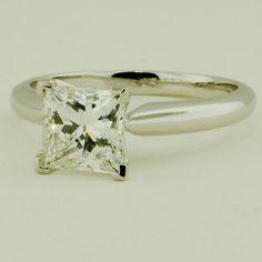 Platinum Four-Prong Classic Ring - Set with a 1.50 Carat, Princess, Ideal Cut, I Color, VS1 Clarity Diamond #BrilliantEarth