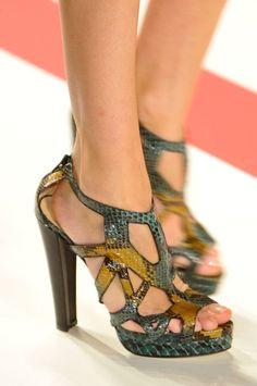 Leonard Multicolor Snakeprint Sandals Spring 2014 RTW #Shoes #Heels